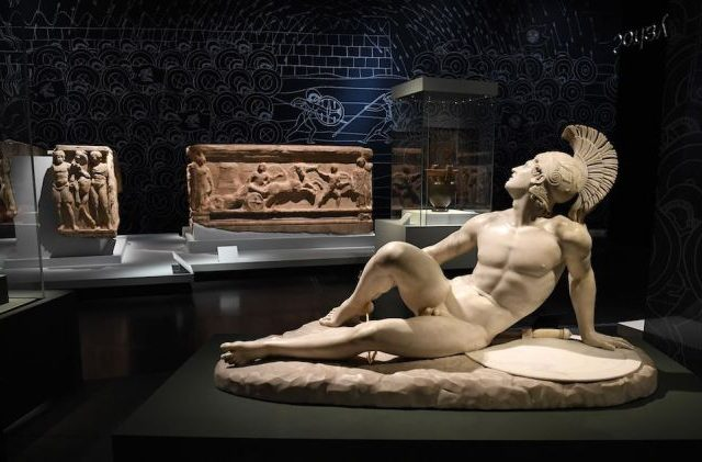 Mandatory Credit: Photo by ANDY RAIN/EPA-EFE/Shutterstock (10479713o) The sculpture 'The Wounded Achilles' (1825) by Italian artist Filippo Albacini is on display at the 'Troy: Myth and Reality' exhibit at the British Museum in London, Britain, 19 November 2019. The British Museum has opened its major exhibition for autumn. The exhibition is the first major Troy exhibition in the UK. Troy: Myth and Reality exhibit at British Museum in London, United Kingdom - 19 Nov 2019