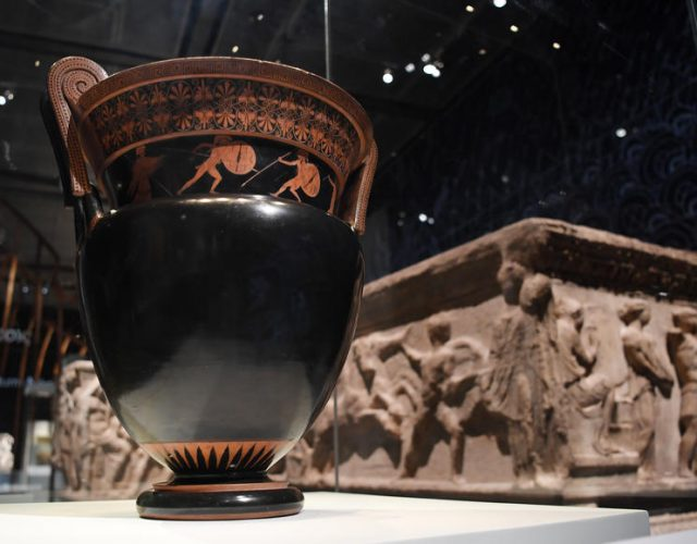 epa08008588 Artefacts are on display at the 'Troy: Myth and Reality' exhibit at the British Museum in London, Britain, 19 November 2019. The British Museum has opened its major exhibition for autumn. The exhibition is the first major Troy exhibition in the UK. EPA-EFE/ANDY RAIN