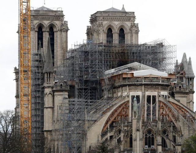 This picture taken on March 11, 2020, shows the Notre Dame Cathedral in Paris, after it was partially destroyed by a fire in April, 2019, whilst undergoing renovation work. (Photo by FRANCOIS GUILLOT / AFP)