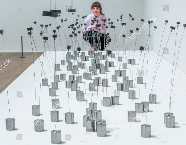Mandatory Credit: Photo by Guy Bell/Shutterstock (10326178u) Magnetic Fields installation, on display for the first time since the 1970s, in which magnetic pendulums trigger movement from nearly a hundred small sculptures 'Takis' at the Tate Modern exhibition, London, UK - 02 Jul 2019 Takis at Tate Modern. Takis (Panayiotis Vassilakis, b.1925) a sculptor of magnetism, light and sound. It brings together over 80 works and is Takis' largest exhibition in the UK to date.