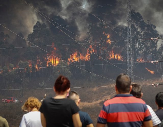 epa08635725 People look at the flames of the forest fire in Huelva, Spain, 30 August 2020. The fire has been burning since last Thursday 27 August due to the dry and hot weather conditions. EPA/JOSE MANUEL VIDAL