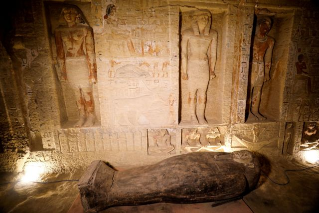 A sarcophagus that is around 2500 years old, is seen inside the newly discovered burial site near Egypt's Saqqara necropolis, in Giza, Egypt, October 3, 2020. REUTERS/Mohamed Abd El Ghany TPX IMAGES OF THE DAY