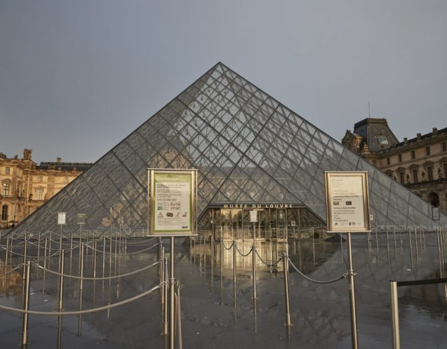 PARIS, FRANCE - MARCH 01: The Louvre Museum in Paris, the most visited Museum in the World, which shut today over concerns over France's coronavirus outbreak, after staff voted not to open on March 1, 2020 in Paris, France. France has reported 100 cases of the Covid-19 virus, and in an effort to curb the spread of the virus the French government has banned all indoor gatherings of more than 5,000 people. (Photo by Kiran Ridley/Getty Images)