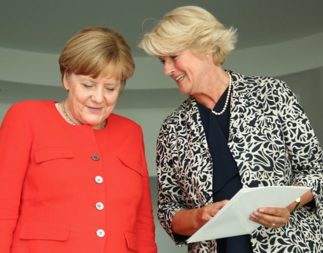 BERLIN, GERMANY - JULY 17: Monika Gruetters is seen handing out a document for Angela Merkel as she attends the '#weiles2017ist' Reception And Closing Ceremony at Bundeskanzleramt on July 17, 2017 in Berlin, Germany. (Photo by Christian Marquardt/Getty Images)