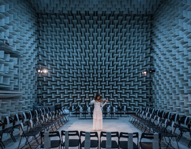 Ferrara (Italy). In the university's anechoic chamber – a place where a level of absolute silence can almost be achieved – violinist Martina Monti performs during a recital by the Tasso Middle School.